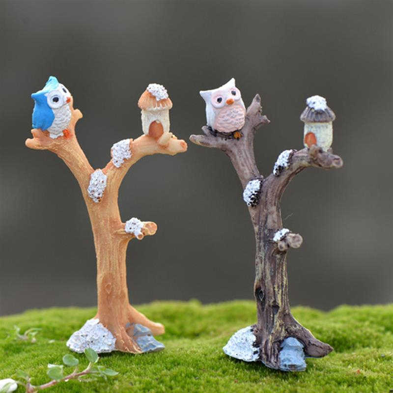2pcs/lot Cute Owl Tree Miniature Garden Decoration Vintage Cartoon Animals Figurines Fairy Modern Home Decorations Accessories
