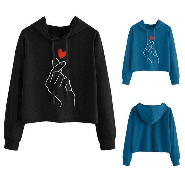 FINGER HEART CROP TOP HOODIE (7 VARIAN)