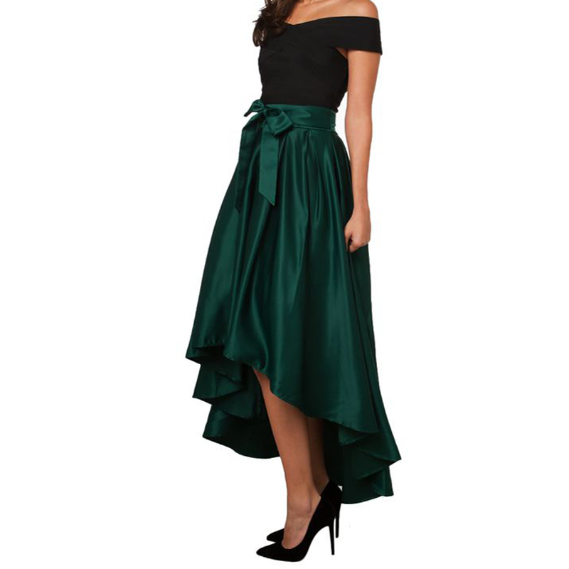 vintage autumn skirts womens green saia plissada high