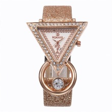 Creative luxury triangle rhinestone inlaid ladies frosted strap watch fashion quartz watch female models
