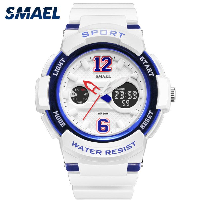SMAEL New Fashion Girls Sport Watch Famous Women Watches Brand Quartz Clock  Uhren Frauen Dame LED Big Display Relogio 1632