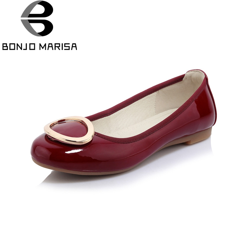 BONJOMARISA Spring New women's Patent Leather Women Flats Shallow Metal Decroation Shoes Woman Casual Comfortable Big Size 34-40 plue size 34 49 spring summer high quality flats women shoes patent leather girls pointed toe fashion casual shoes woman flats