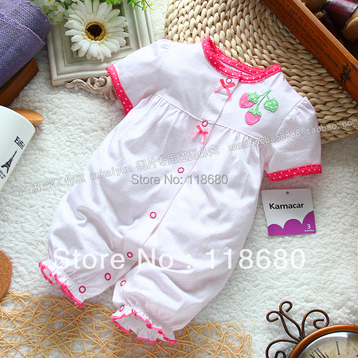 new 2014 summer baby clothing newborn baby girl rompers kids Short sleeve jumpsuit child lovely strawberry coveralls baby wear newest 2016 summer baby rompers clothing short sleeve 100