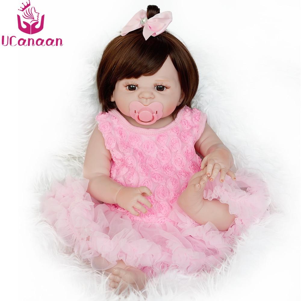 UCanaan 22 인치 전체 실리콘 다시 태어난 인형 핑크 공주 드레스 갈색 눈 신생아 소녀 인형 장난감 어린이 55 센치메터