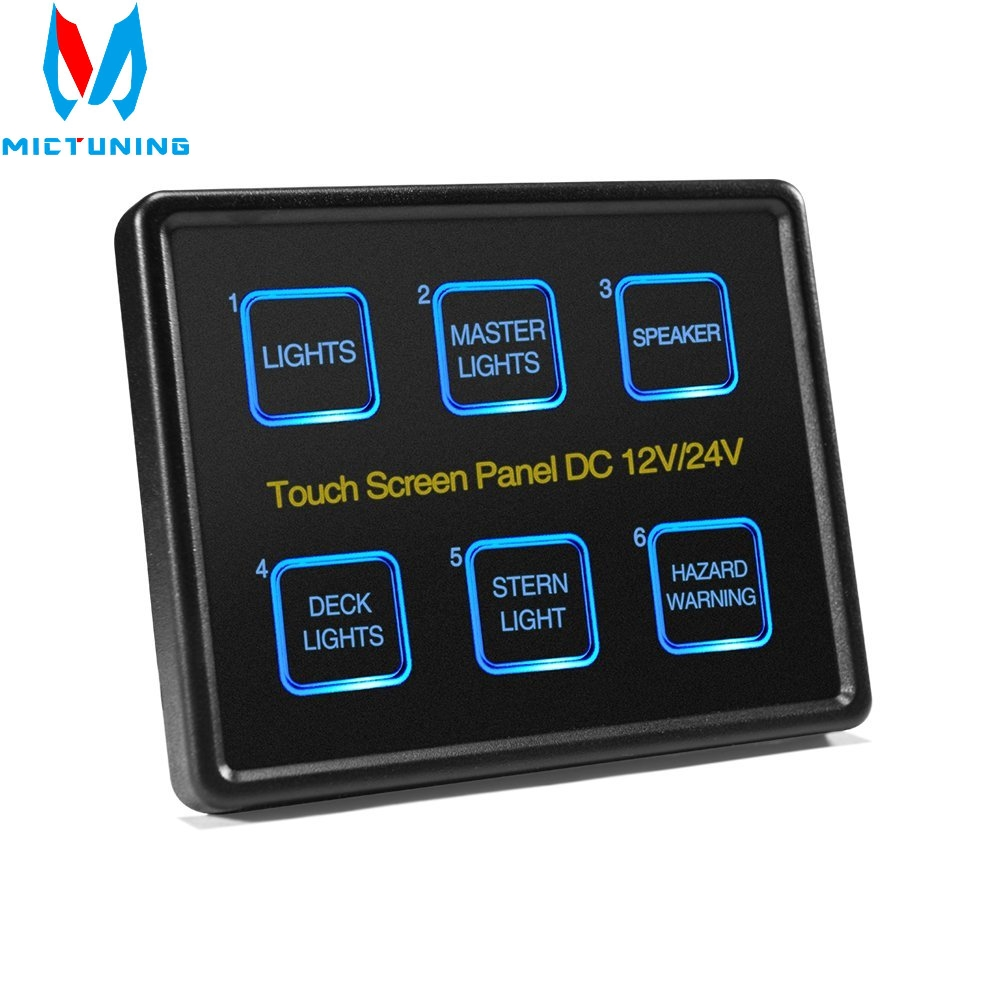 Mictuning 12V/24V Touch Screen Switches Panel 6 Gang LED Switch Panel Slim Touch Control Panel Box for Car Marine Boat Caravan