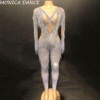Women Sexy Stage Jumpsuit Silver Tassel Bling Sparkling Crystals Bodysuit Nightclub Party Stage Wear Dancer Singer Jumpsuit