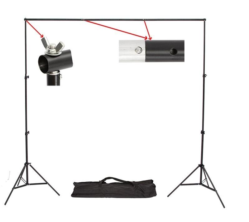 Prix pour Bonne qualité 2.6 M X 3 M Pro Photographie Photo Backdrops Fond Support Système Stands Pour Photo Vidéo Studio + sac de transport