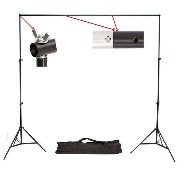 Buena calidad 2.6 M X 3 M Pro Fotografía Foto Telones de fondo Sistema de Apoyo Antecedentes Stands Para la Foto Video Studio + bolsa de transporte