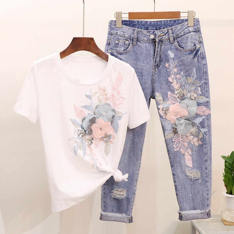 LUOSHA Frauen 2019 Frühling Sommer Kurzarm T-shirt + Jeans Anzug Stickerei 3D Blumen Aushöhlen Loch Saum StylishDenim Hosen set
