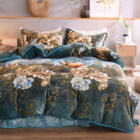 Warm Winter Thick Fleece Fabric Flowers Printing Bedding Set Soft Flannel Velvet Duvet Cover Bed Sheet/Linen Pillowcases 4pcs
