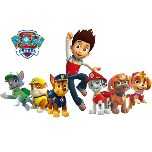 3d Paw Patrol Wall Waterproof Sticker Cartoon Animals Police Dogs Room Background Decoration Pvc