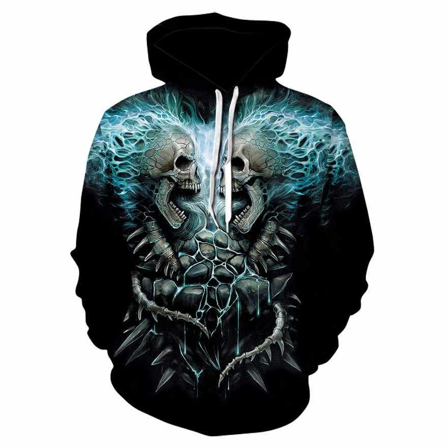 2018 뜨거운 새로운 두개골 남자의 까마귀 운동복 3d 인쇄 재미 있은 힙합 까마귀 고딕 해골 까마귀 가을 재킷 남자의 운동복