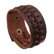 Erste Schicht aus Leder Mann Armband Taste Einstellbare Vintage Echtes Leder-armband Unisex Punk Stil Reif 23 CM Männer Armband