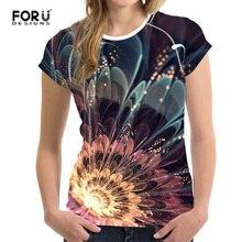 FORUDESIGNS T shirt O-Neck Women t-shirt Short Sleeve Floral Retro Tops tee Smooth Femme Slim-Fit Black tshirts Travel Top