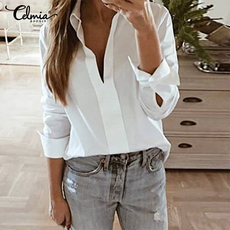 2019 Women White <font><b>Blouses</b></font> Celmia Long Sleeve <font><b>Sexy</b></font> <font><b>Deep</b></font> <font><b>V</b></font> Neck Tunic Shirt Solid Loose Casual Office Work Tops Female Blusas S-5XL image