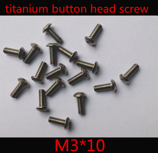 50pcs/lot  ISO7380  M3 x 10 Titanium Button Head Hex Socket Screw 50pcs lot iso7380 m3 x 6 pure titanium button head hex socket screw
