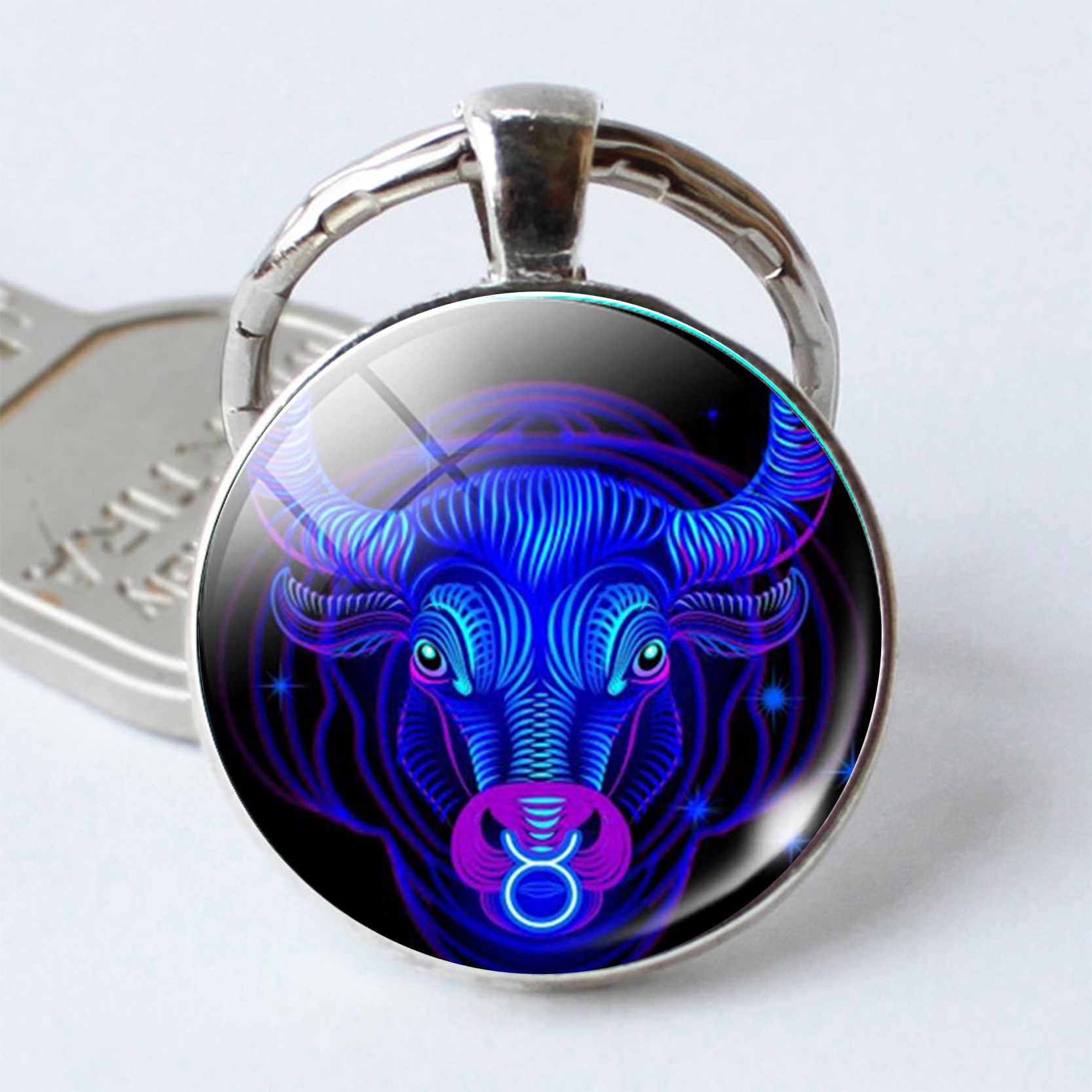 מזלות Keychain 12 קבוצת כוכבים אריה בתולה מאזניים עקרב קשת תליון כפול פנים Keyring מפתח