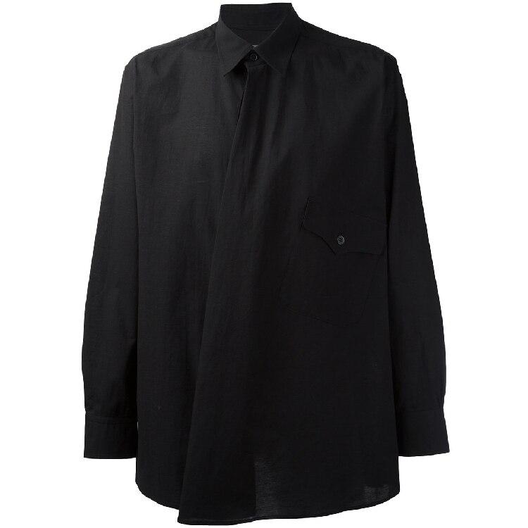 S-6XL! Grandes chemises pour hommes 2019 conception irrégulière originale de la chemise des hommes contrôle d'accès oblique hors des vêtements pour hommes