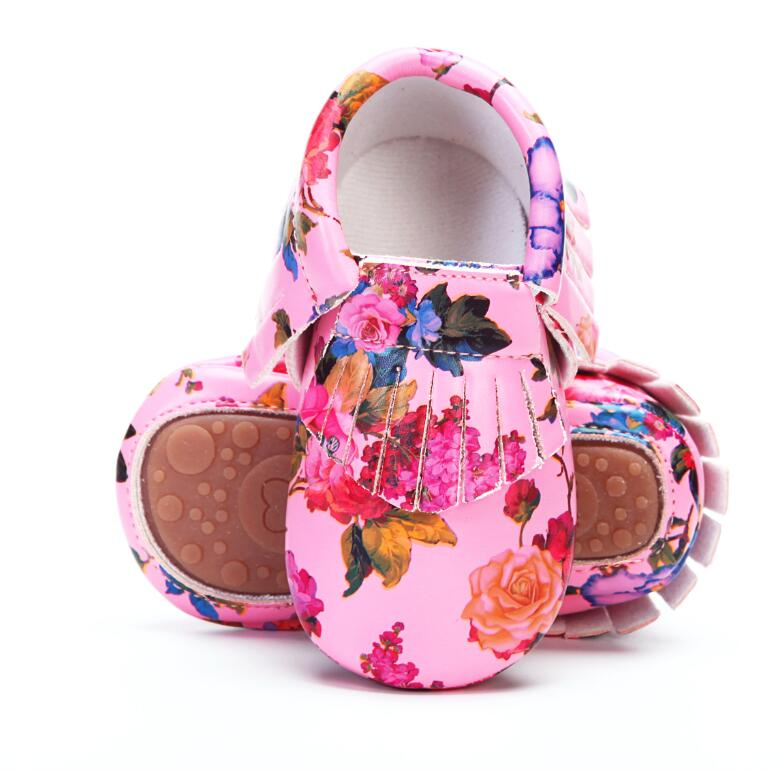 PU leather baby moccasins Floral printing hard sole fringe toddler baby girls boys shoes 0-4 years little kids outdoor shoes