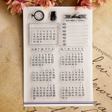 Clear Stamps  Perpetual calendar Scrapbook Card album paper craft handmade silicon rubber roller transparent stamps