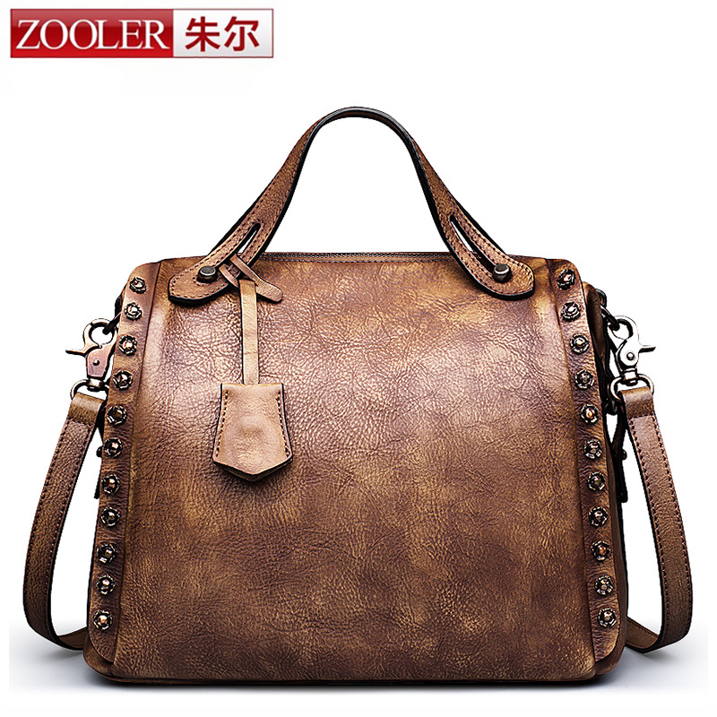 ZOOLER New Fashion Women Retro Genuine Leather Bags Tote Leather Handbags Women Messenger Bag Shoulder Rivet Vintage Boston Bags hikvision ds 2df8223i ael english version 2mp ultra low light smart ptz camera ultra low illumination dark fighter