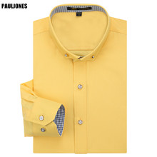 High Quality New Spring Mens Long Sleeve Dress Shirts Luxury Quality Collar Button Designer Social Male Clothing China PaulJones