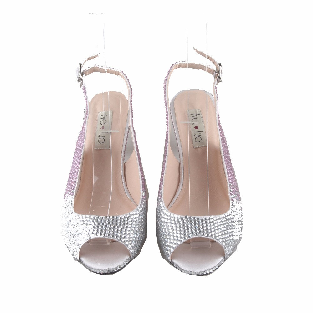 CHS778 Custom Handmade Light Pink Silver Crystal SlingBacks Dress Pumps Big  Size Low Heel Women Shoes Bridal Wedding Shoes-in Women s Pumps from Shoes  on ... 3add3b8c59b7