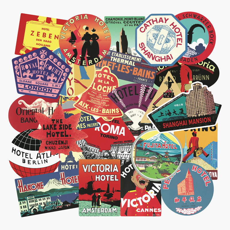56Pcs Rimowa Travel Retro Stickers International Hotel Tide Brand Graffiti Sticker Case Laptop Skateboard Toys Gifts For Kids F5