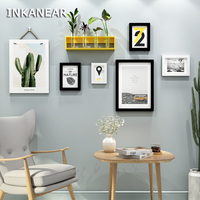 INKANEAR Modern Fashion Painting Photo Frame Set with Shelf Solid Wood Home Decor Wall Decoration Board HF9814