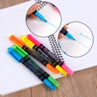 5PCS Cute Mixed Color Double Head Pen Pink Blue Green Yellow Orange Marker Pen Highlighters for Office School