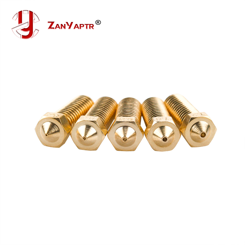 5Pcs/lot New Volcano 3D Printer All Metal Brass E3D Lengthen Extruder Nozzle 0.4/0.6/0.8/1.0/1.2mm For 1.75/3mm Supplies