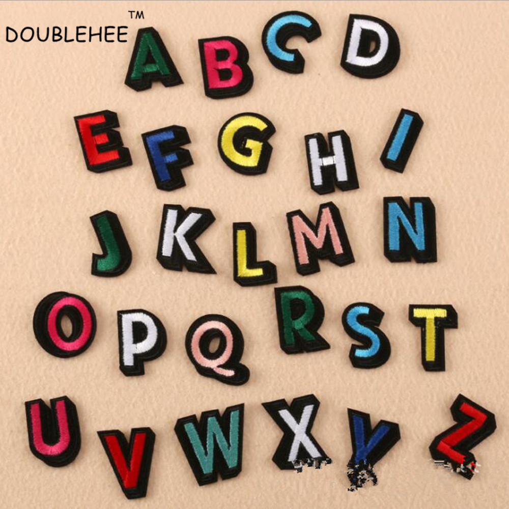 DOUBLEHEE Colorful 26 English Letters Embroidered Iron On Patches New Design Patch Embroidery DIY Garments For Fashion Cloth in Patches from Home Garden