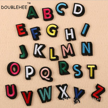 DOUBLEHEE Colorful 26 English Letters Embroidered Iron On Patches New Design Patch Embroidery DIY Garments For Fashion Cloth