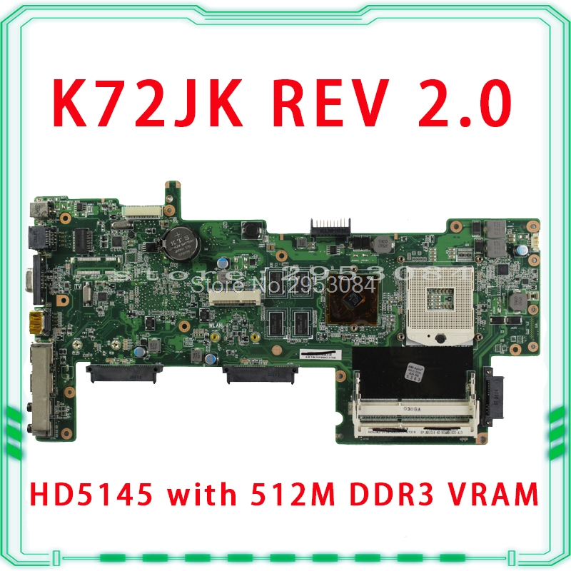 Original K72JR K72JU K72JK K72JT HM55 HD5145 1GB DDR3 216-0728014 laptop Motherboard for asus X72J mainboard 100% fully tested hot selling k72ju k72jt laptop motherboard for asus x72j mainboard hm55 hd6370m rev2 0 1gb ddr3 216 0774211 fully tested 100