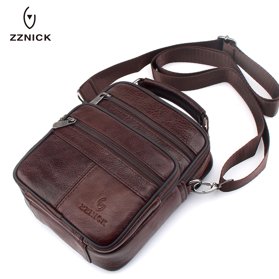 ZZNICK 2018 Genuine Cowhide Leather Shoulder Bag Small Messenger Bags Men Travel Crossbody Bag Handbags New
