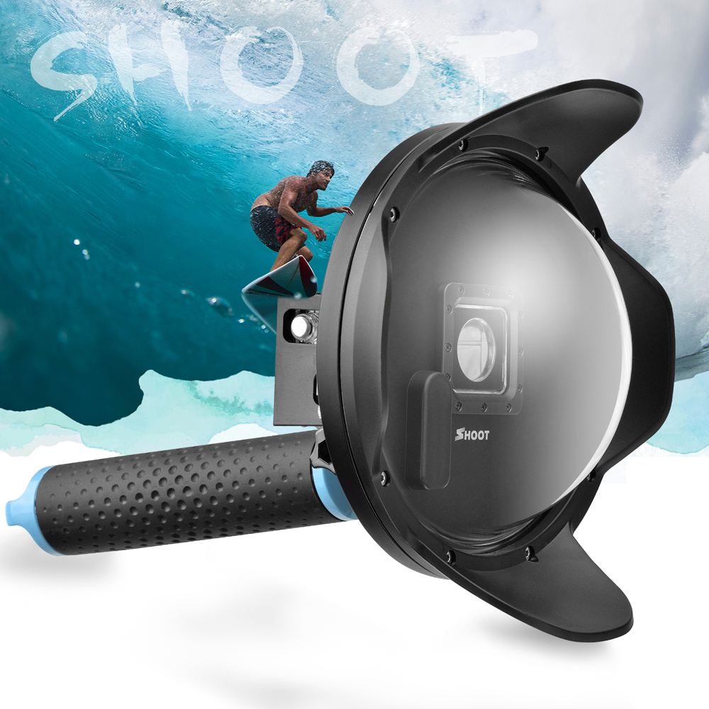 SHOOT 6 inch Sunshade LCD Dome Port for GoPro Hero 4 3+ Camera with Waterproof LCD Case Lens Hood Go Pro Dome GoPro Accessory diving lens hood 6 inch dome port lcd screen with heightening waterproof housing case handheld stabilizer for gopro hero 4 3