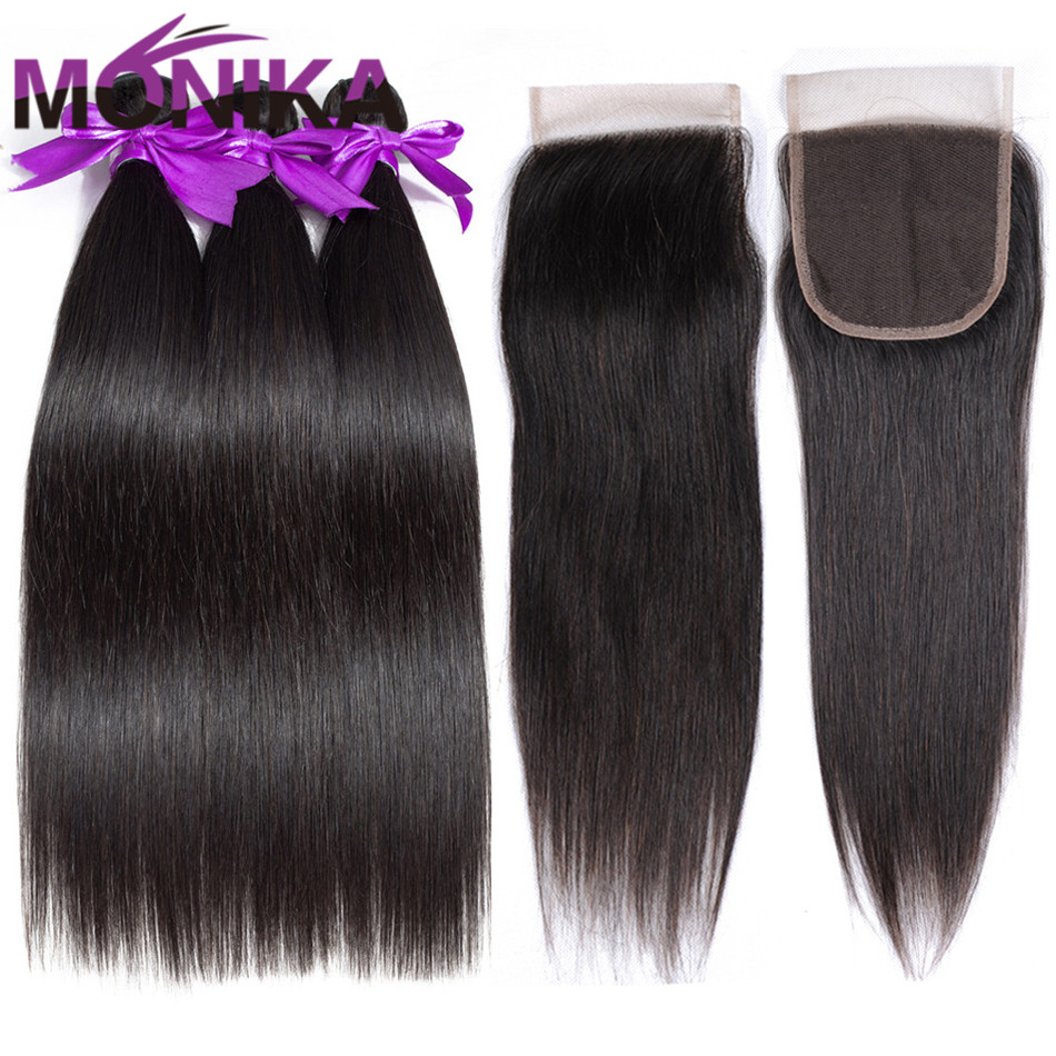 Brazilian Straight Human Hair Bundles With Closure Monika Hair 3 Bundles With Closure Human Hair Weave Bundles and Closure
