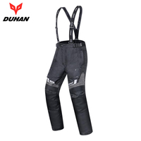DUHAN Motorcycle Pants Men Waterproof Winter Warm Thermal Motocross Pants Protector Suspender Trousers Motorbike Pants Armor
