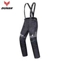 DUHAN Motorcycle Pants Men Waterproof Winter Warm Thermal Motocross Pants Protector Suspender Trousers Motorbike Pants Armor
