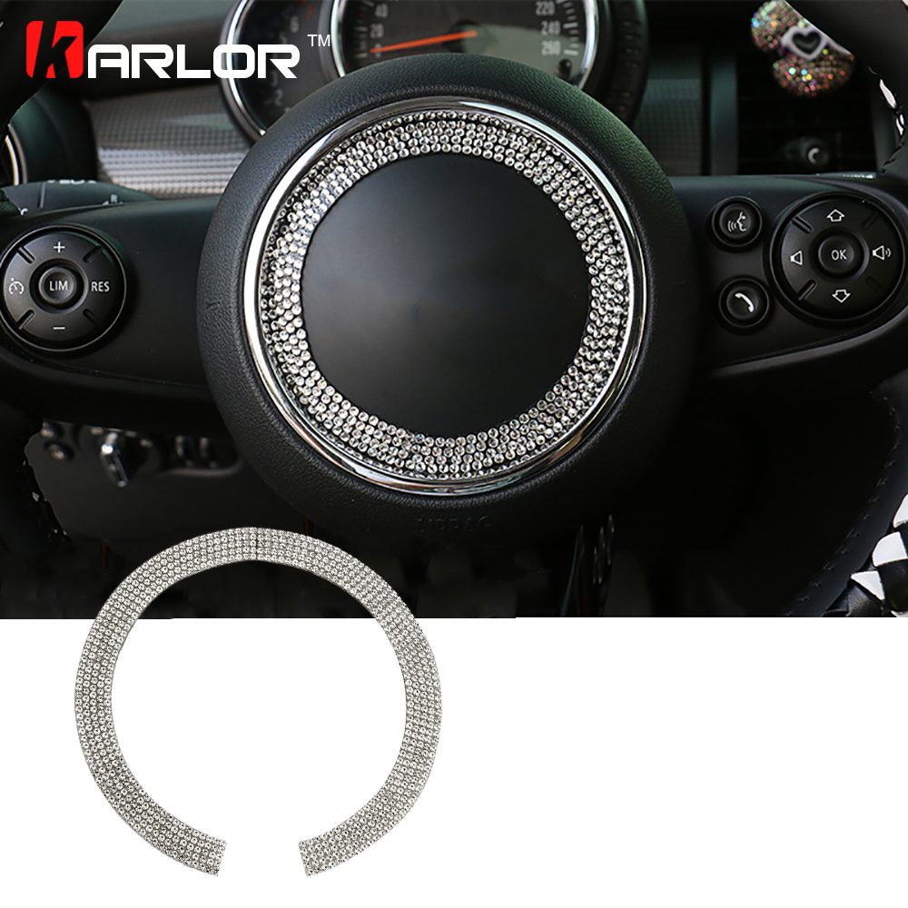 For Mini cooper S F56 F55 R55 R56 R57 R61 R60 countryman clubman steering wheel diamonds crystal decoration interior accessories sun protection cool hat car logo for mini cooper s r53 r56 r60 f55 f56 r55 f60 clubman countryman roadster paceman car styling