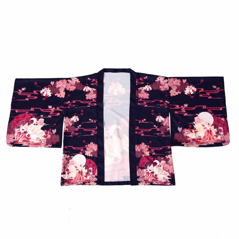 NiceMix 女性和風ファンタジーキツネプリント着物スリーブ羽織コートとウエストベルト Blusas Mujer デモーダ 2019 Camisas Mujer