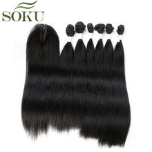 SOKU Synthetic Bundles With Closure 14-18 inch Yaki Straight Hair Weave Bundles With Middle Part Lace Closure 7pieces/pack(China)