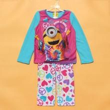 Children pajamas kids minions long sleeve pajamas set ,kids fleece sleepwear,T-shirt+pants 2pcs, kids Christmas clothing