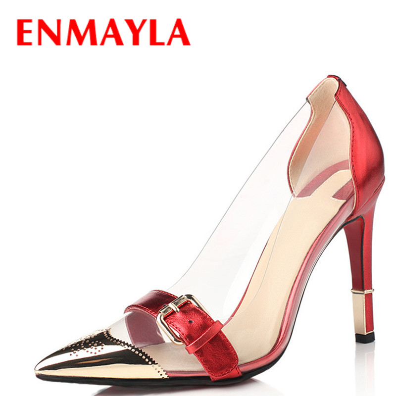 ENMAYLA Summer High Heels Shoes Woman Buckle Transparent Pumps Ladies Shoes Sexy Pointed Toe Black Red Gold Wedding Shoes women pumps flock high heels shoes woman fashion 2017 summer leather casual shoes ladies pointed toe buckle strap high quality
