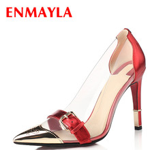 Airfour New Summer High Heels Shoes Women Fashion Buckle Transparent Pumps Ladies Sexy Pointed Toe Black Red Wedding