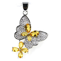 2017 New Arrival Butterfly Golden Citrine, CZ Woman's Engagement Silver Pendant 35x21mm