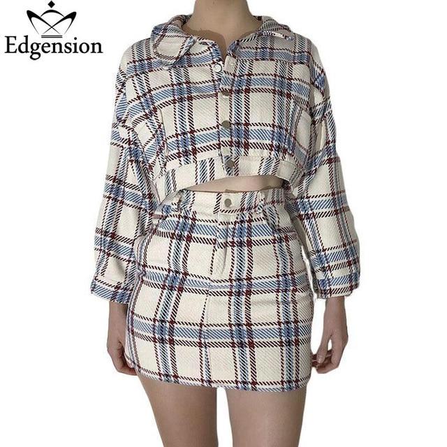 € 38.16 43% de réduction Edgension 2018 Automne Élégant Plaid Tweed Manteau  Et Jupe Vêtements ensemble Pour Femme Classique Veste Courte ... 5eb9fbe6995c