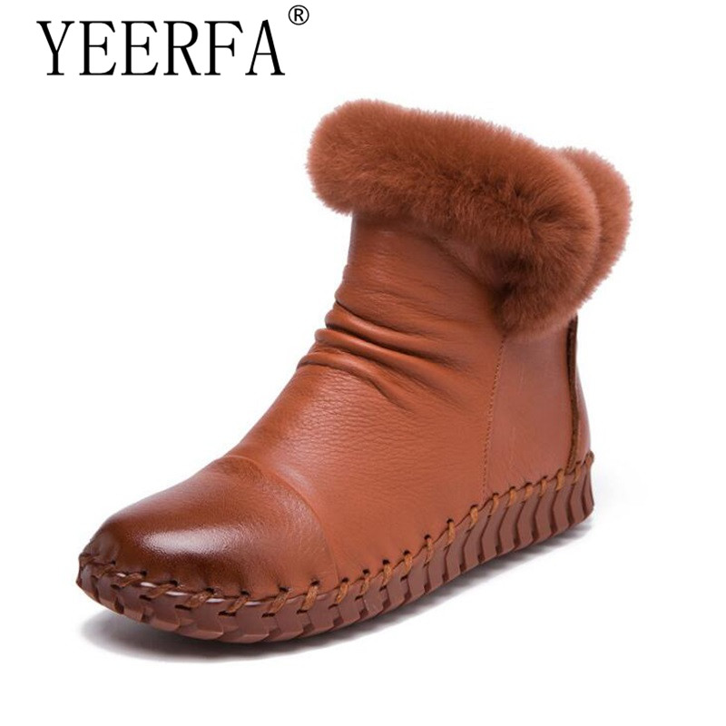 YEERFA Handmade Women's Winter Boots Women Real Fur Winter Shoes Woman Genuine Leather Warm Ankle Snow Boots Mujer Chaussure sexemara fashion handwork genuine leather real wool fur women shoes loafers peas shoes woman warm winter flats shoes