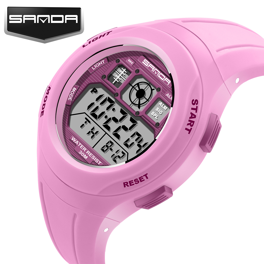 Fashion SANDA Brand Sports Klokker Digital LED Quartz Watch Barn Gutter Jenter Mote Sport Reloj Relojes Armbåndsur Klokke