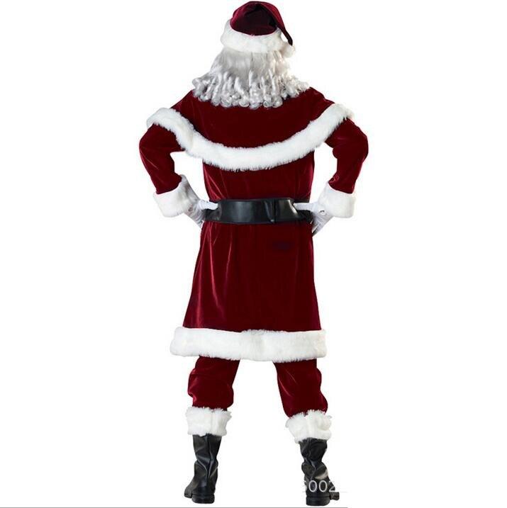 M-XXL-2018-New-Deluxe-Velvet-Christmas-Santa-Claus-Suit-Adult-Mens-Costume-gloves-shawl